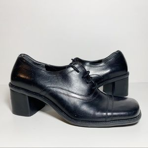 Enzo Angiolini Leather Heeled Lace Up Oxfords